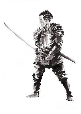 Surreal Art Painting - Samurai In Armor. by Mariusz Szmerdt