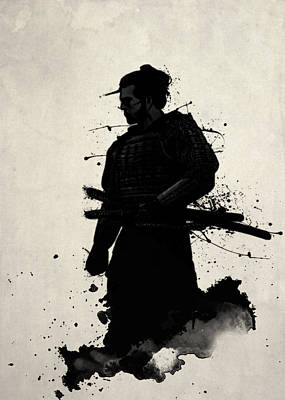 Digital Watercolor Digital Art - Samurai by Nicklas Gustafsson