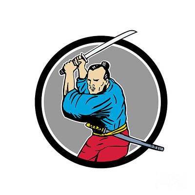 Sword Cartoon Digital Art - Samurai Warrior Katana Sword Circle Drawing by Aloysius Patrimonio