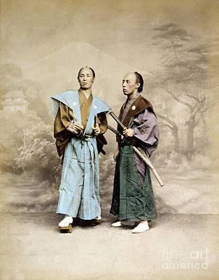 Albumen Photograph - Samurai Warriors, 1877 by Science Source