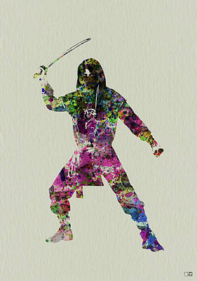 Warrior Wall Art - Painting - Samurai With A Sword by Naxart Studio