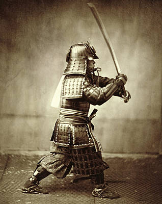 Samurai With Raised Sword Print by F Beato