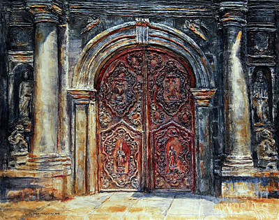Painting - San Agustin Church Entrance by Joey Agbayani