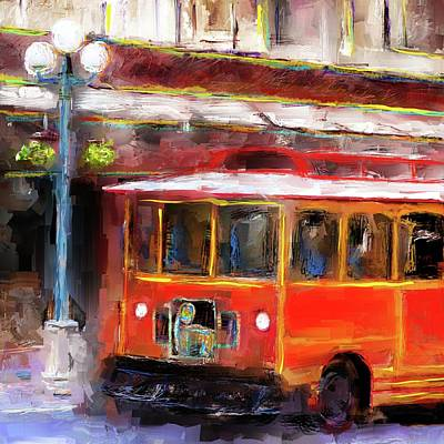 Digital Art - San Antonio 5 Oclock Trolley by Eduardo Tavares