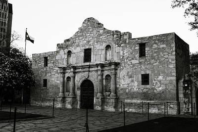 Photograph - San Antonio Alamo In Black And White by Gregory Ballos