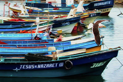 Digital Art - San Antonio Chile Boats by John Haldane