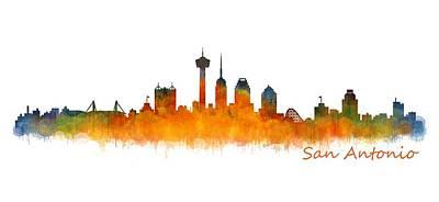 Urban Painting - San Antonio City Skyline Hq V2 by HQ Photo