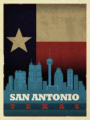 Skyline Mixed Media - San Antonio City Skyline State Flag Of Texas Art Poster Series 022 by Design Turnpike