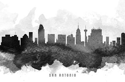 Towns Digital Art - San Antonio Cityscape 11 by Aged Pixel