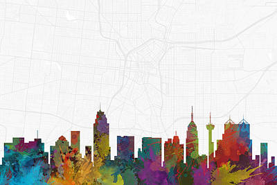 Skyline Digital Art - San Antonio Cityscape And Streetmap Skyline by Jurq Studio