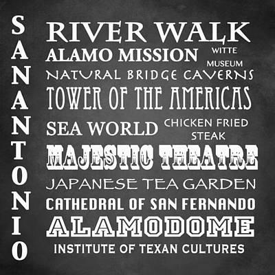 The Alamo Wall Art - Digital Art - San Antonio Famous Landmarks by Patricia Lintner