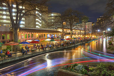 San Antonio Images - The Riverwalk At Night 2 Art Print by Rob Greebon