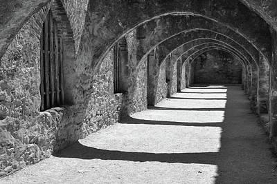Photograph - San Antonio Mission San Jose - Black And White by Gregory Ballos