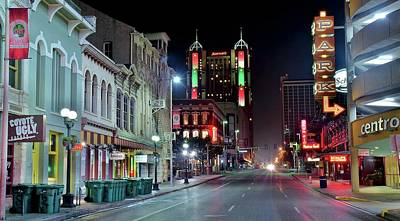 Photograph - San Antonio Night Pano by Frozen in Time Fine Art Photography