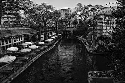 Photograph - San Antonio River Walk Black And White by Judy Vincent
