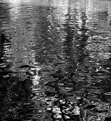 Photograph - San Antonio River Walk Reflection Bw by Mary Bedy