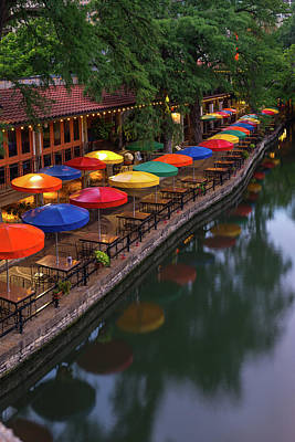 Photograph - San Antonio River Walk Umbrella Reflections by Gregory Ballos