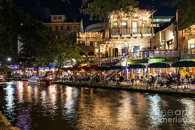 Night Cityscape Photograph - San Antonio Riverwalk Night Life by Tod and Cynthia Grubbs