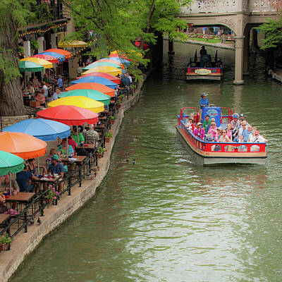 Photograph - San Antonio Riverwalk Umbrellas 1x1 by Gregory Ballos