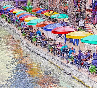 Photograph - San Antonio Riverwalk Umbrellas by Kristina Deane