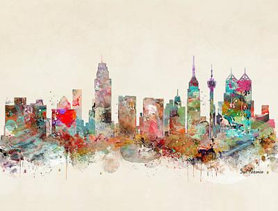 Painting - San Antonio Skyline by Bleu Bri