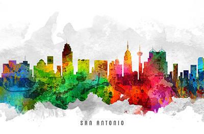 San Antonio Texas Cityscape 12 Art Print by Aged Pixel