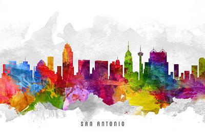 San Antonio Texas Cityscape 13 Art Print by Aged Pixel