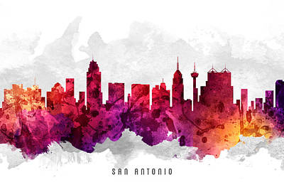 San Antonio Texas Cityscape 14 Art Print by Aged Pixel