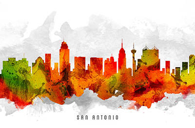 San Antonio Texas Cityscape 15 Art Print by Aged Pixel
