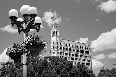 Photograph - San Antonio Texas Cityscape Black And White by Gregory Ballos