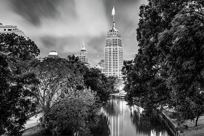 Photograph - San Antonio Texas Cityscape Skyline At Dawn - Black And White by Gregory Ballos