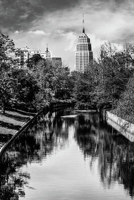 Photograph - San Antonio Texas Downtown City Skyline On The Water - Black And White 2 by Gregory Ballos