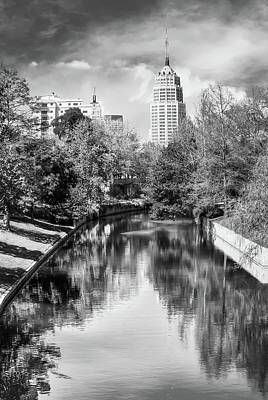 Photograph - San Antonio Texas Downtown City Skyline On The Water - Black And White by Gregory Ballos