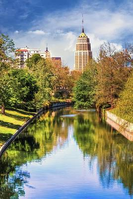 San Antonio Texas Downtown City Skyline On The Water Art Print by Gregory Ballos