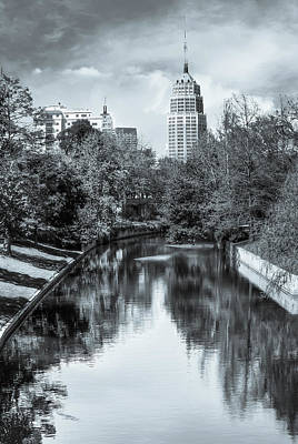 Photograph - San Antonio Texas Downtown City Skyline On The Water - Selenium by Gregory Ballos