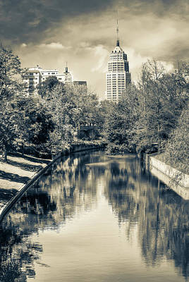 Photograph - San Antonio Texas Downtown City Skyline On The Water - Sepia by Gregory Ballos