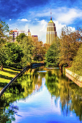 Photograph - San Antonio Texas Downtown City Skyline On The Water - Vibrant Color by Gregory Ballos