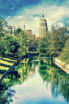 Photograph - San Antonio Texas Downtown City Skyline On The Water - Washed Out by Gregory Ballos