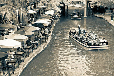 Photograph - San Antonio Texas Riverwalk Black And White by Gregory Ballos