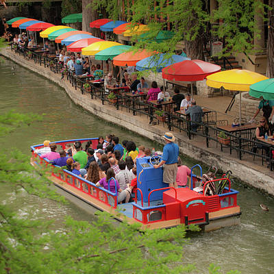 Photograph - San Antonio Texas Riverwalk Umbrellas 1x1 by Gregory Ballos