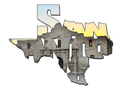 Photograph - San Antonio Texas Typography - An Alamo Sunrise by Gregory Ballos