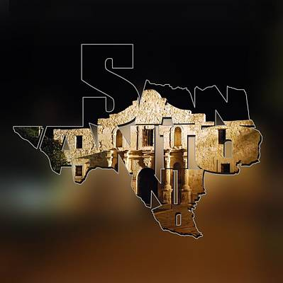 Photograph - San Antonio Texas State Shape Series - Typography Blur - The Alamo At Night by Gregory Ballos
