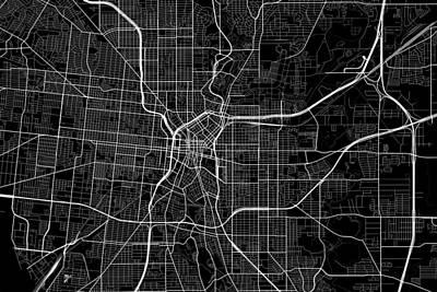 Amy Weiss - San Antonio Texas USA Dark Map by Jurq Studio