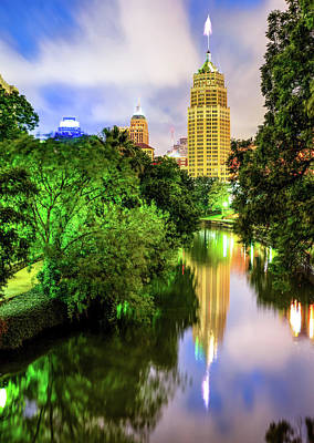 Photograph - San Antonio Tower Life Building On The Riverwalk by Gregory Ballos