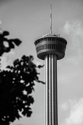 Photograph - San Antonio Tower Of The Americas - Black And White by Gregory Ballos