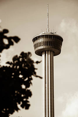 Photograph - San Antonio Tower Of The Americas - Sepia by Gregory Ballos