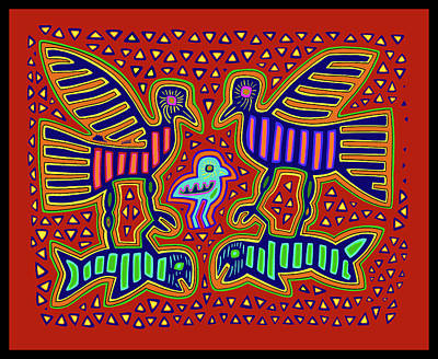 Digital Art - San Blas Kuna Bird Family With Fish by Vagabond Folk Art - Virginia Vivier