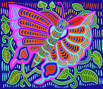 Digital Art - San Blas Kuna Butterfly by Vagabond Folk Art - Virginia Vivier