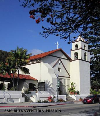 Art Print featuring the photograph San Buenaventura Mission by Mary Ellen Frazee