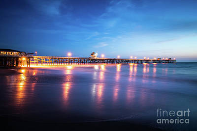 San Clemente Beach Photograph - San Clemente California Pier At Sunset by Paul Velgos